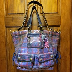 Coach Poppy Large Limited Edition Tartan Plaid Glam Sequin Tote Bag 15890